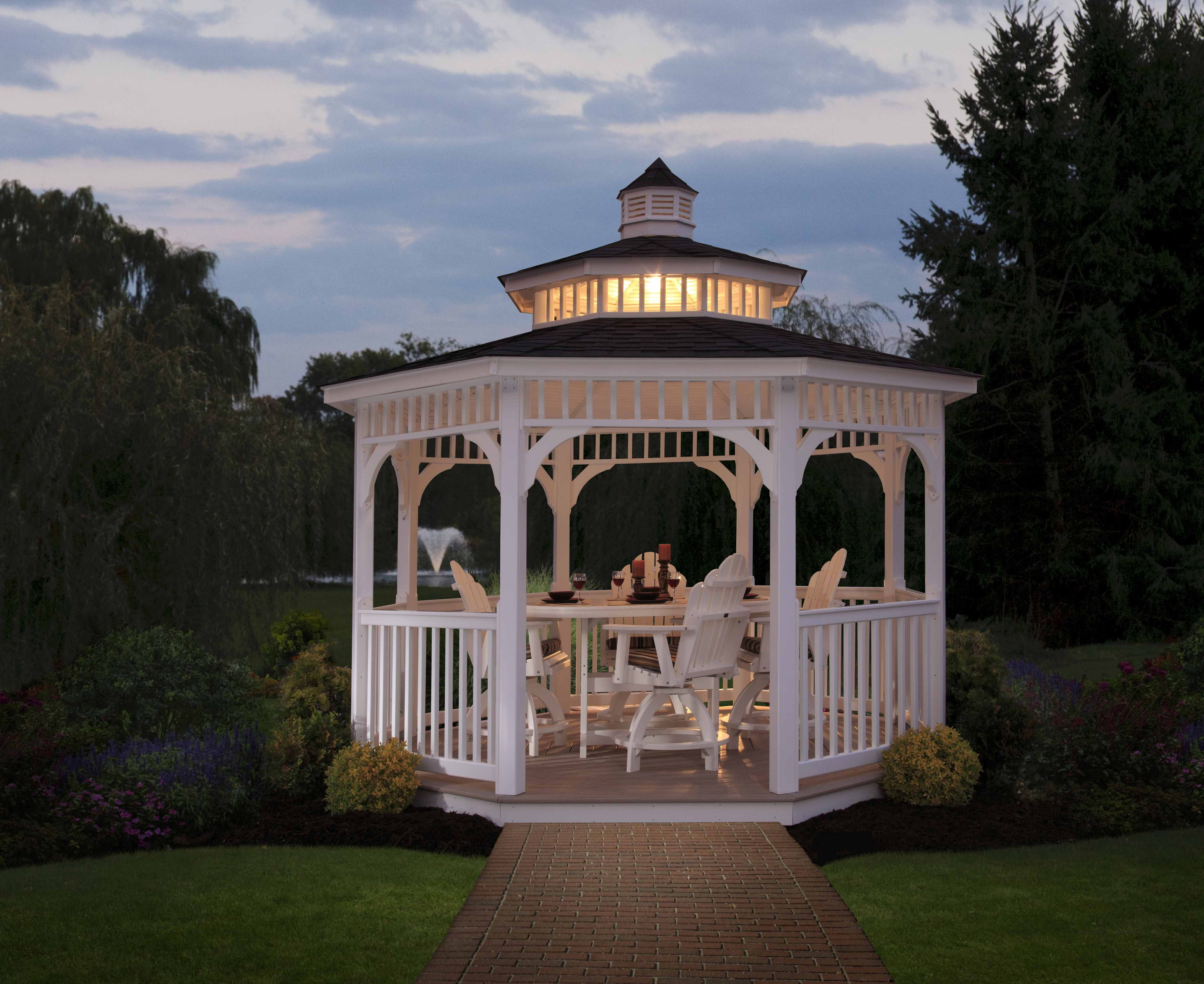 Berlin Gardens Octagon Gazebo In White Vinyl Makes A Beautiful Gathering  Spot For Dinner Or Conversation