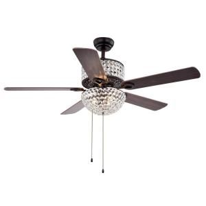 Warehouse of Tiffany Laure Crystal 52 in. Indoor Incandescent Brown Ceiling Fan CFL8170BL at The Home Depot - Mobile