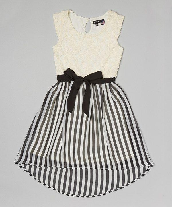 3d36921b70 Loving this Ivory   Black Stripe Lace Hi-Low Dress - Girls on  zulily!   zulilyfinds