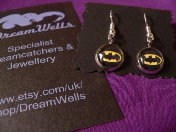 Batman Logo Earrings 925 Silver Ear Wires by DreamWells on Etsy