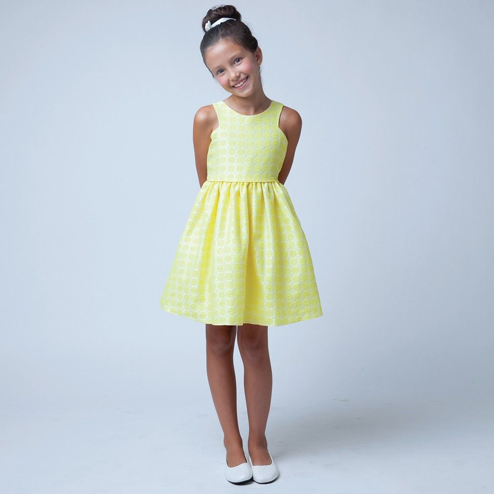 Sweet Kids Little Girls Yellow Floral Jacquard Easter Special
