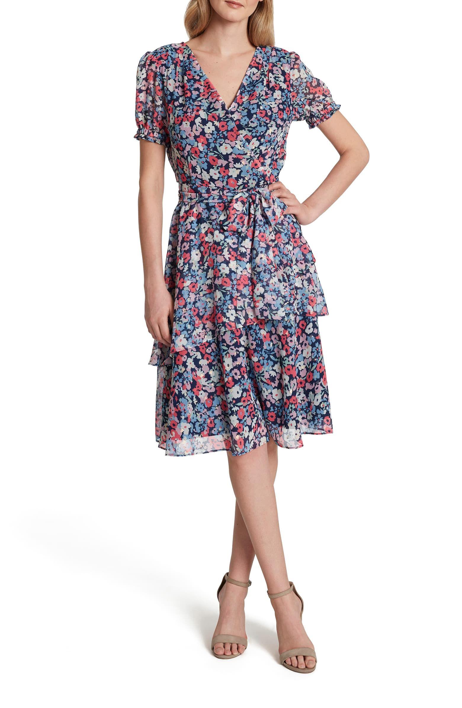 Tahari Floral Print Metallic Clip Dot Faux Wrap Dress Nordstrom Wrap Dress Printed Wrap Dresses Faux Wrap Dress [ 2392 x 1560 Pixel ]