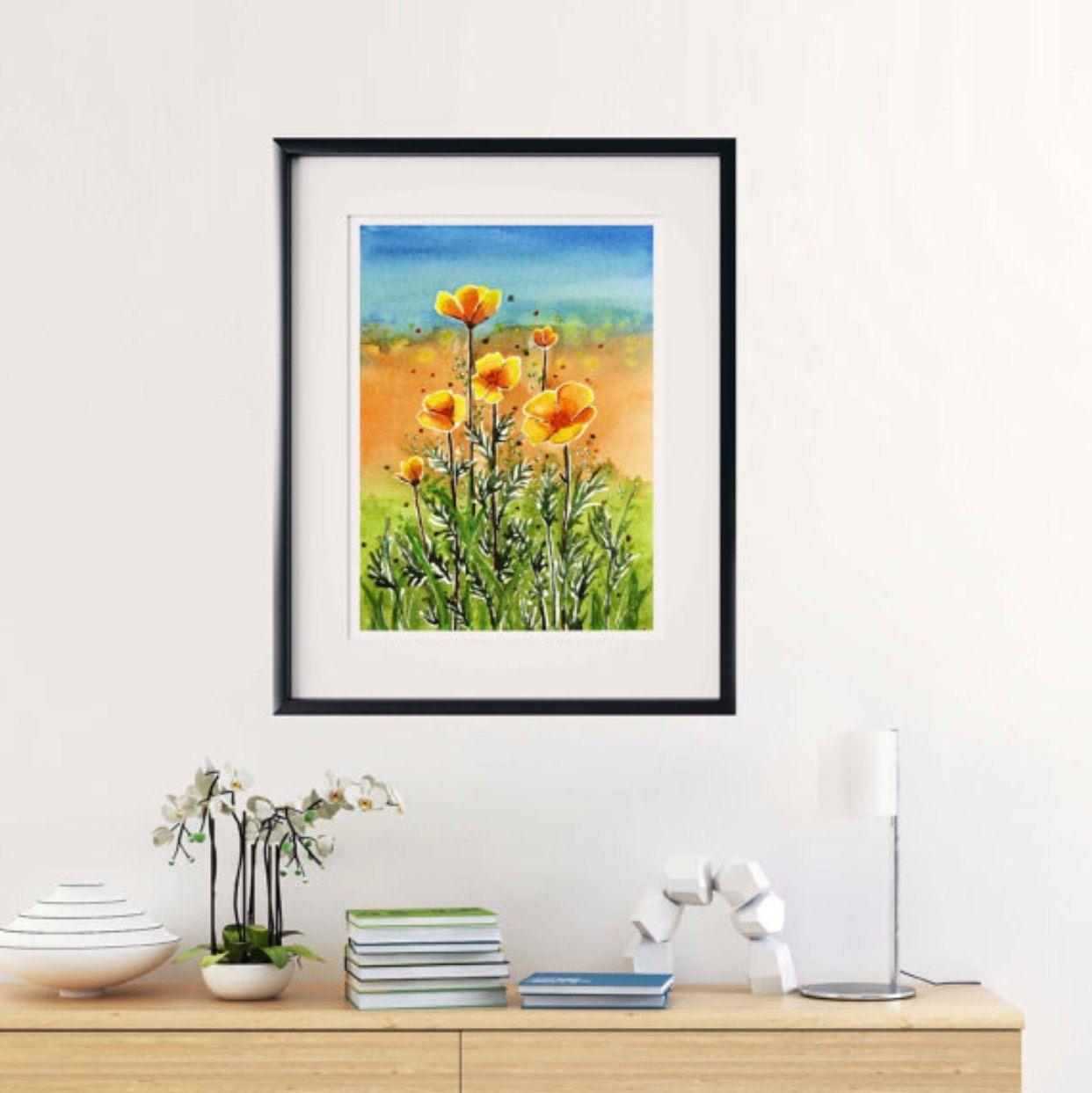 Watercolor California poppies | Watercolor paintings ...