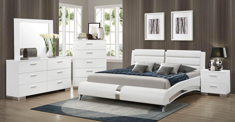 Coaster Felicity Platform Bedroom Set White Modern