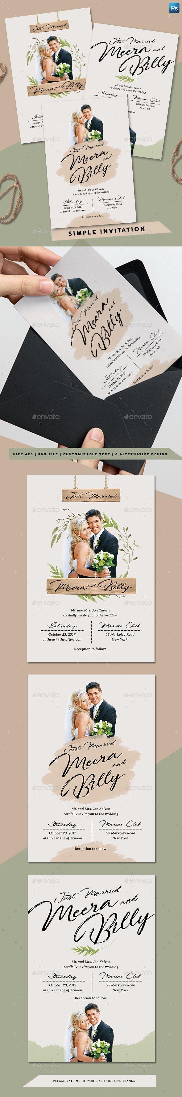 Simple invitation photoshop psd 4x6 just married available simple invitation photoshop psd 4x6 just married available here httpsgraphicriveritemsimple invitation20547229refpxcr maxwellsz