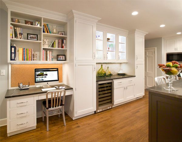9 Ways To Install A Computer Station In Your Kitchen Kitchen Desks Kitchen Design Best Kitchen Designs