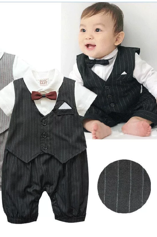 9f07b9b8810 Christening Baptism Wedding Black Suit Black Baby Photography Prop Outfit  (3 to 6 months)