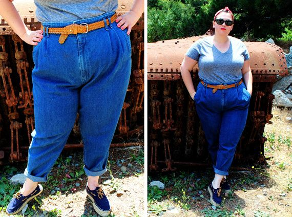 Plus Size - Vintage High Waisted Pleated Front Jeans (Size 24W ...