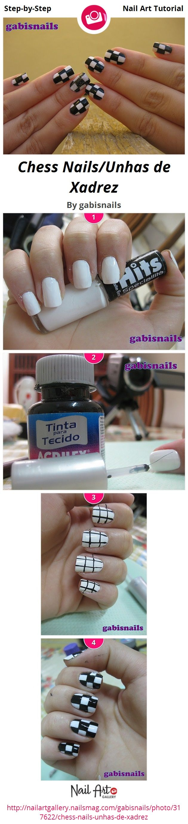 Chess Nails/Unhas de Xadrez by gabisnails - Nail Art Gallery Step-by ...