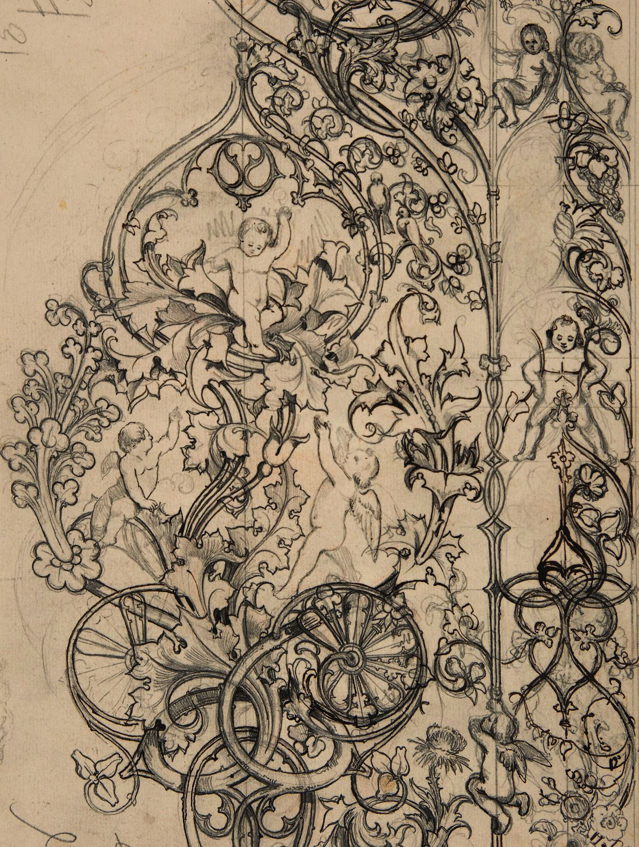 jaded-mandarin: Gothic Ornament with Putti and Acanthus Leaves ...