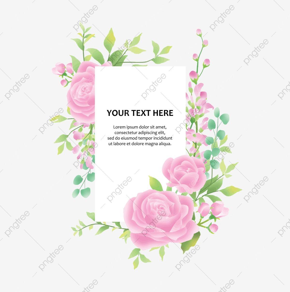 إطار دعوة زفاف مع ورود وأوراق بألوان مائية الإطار ورقة الشجر أخضر Png والمتجهات للتحميل مجانا Invitation Frames Wedding Invitations Invitations