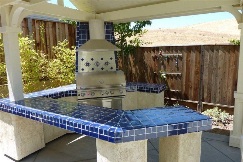 Cobalt Blue Kitchen Tile Mexican Talavera On A Bbq Countertop Home