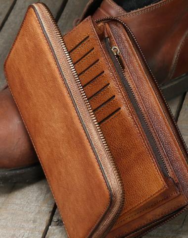 0dd06cda6460 Handmade long wallet leather men phone zip clutch vintage wallet for men
