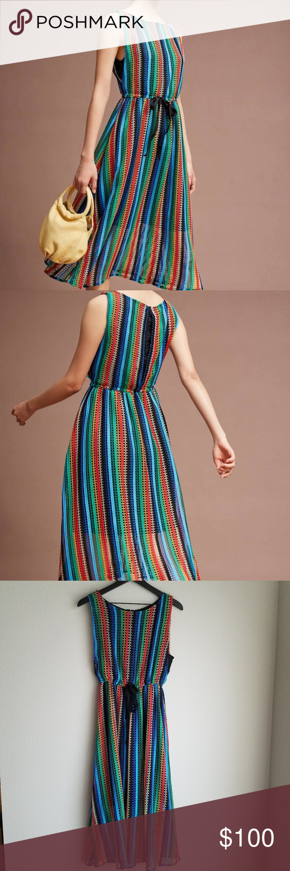44848f1a88a Eva Franco Rainbow Crochet Midi Dress size 8 NWT attached sash, back zip,  lined