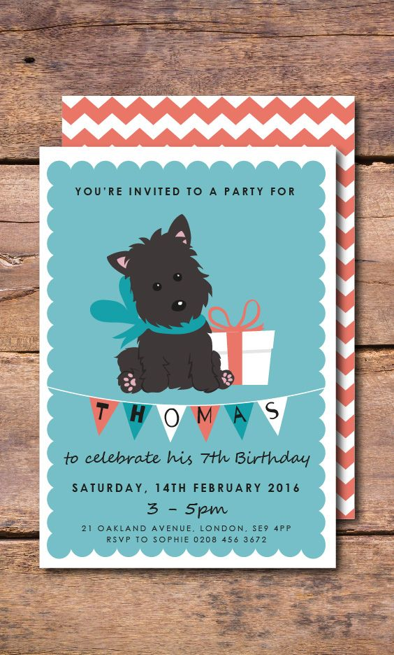 A cute dog birthday invitation with turquoise and orange background ...