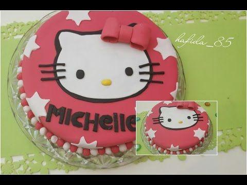 طريقة التحضير كيكة عيد ميلاد هالو كيتي بعجينة السكر Youtube Chocolate Biscuits Cake Birthday