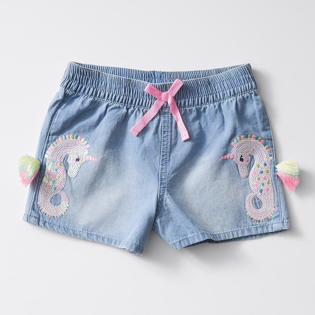 Seahorse Chambray Shorts   Chambray shorts, Kids fashion