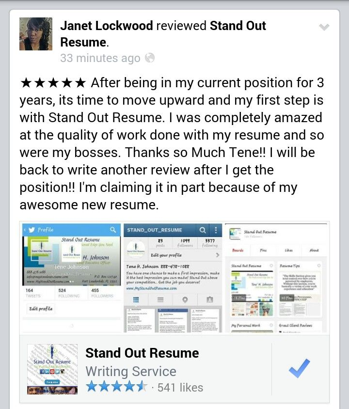 More great client reviews! No matter where you are in your career - writing my first resume