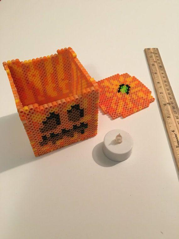 minecraft pumpkin jack o lantern perler 3d box by. Black Bedroom Furniture Sets. Home Design Ideas