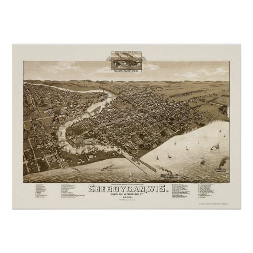 Sheboygan, WI Panoramic Map - 1885 Posters