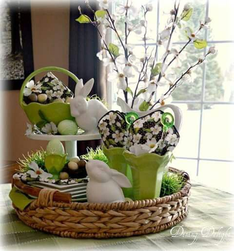 Pin by rose petals and pearls on easter pinterest easter breakfast nook kpretty easter vignette in a round basket tray using white lime and touches of black in the napkins for contrast negle Choice Image