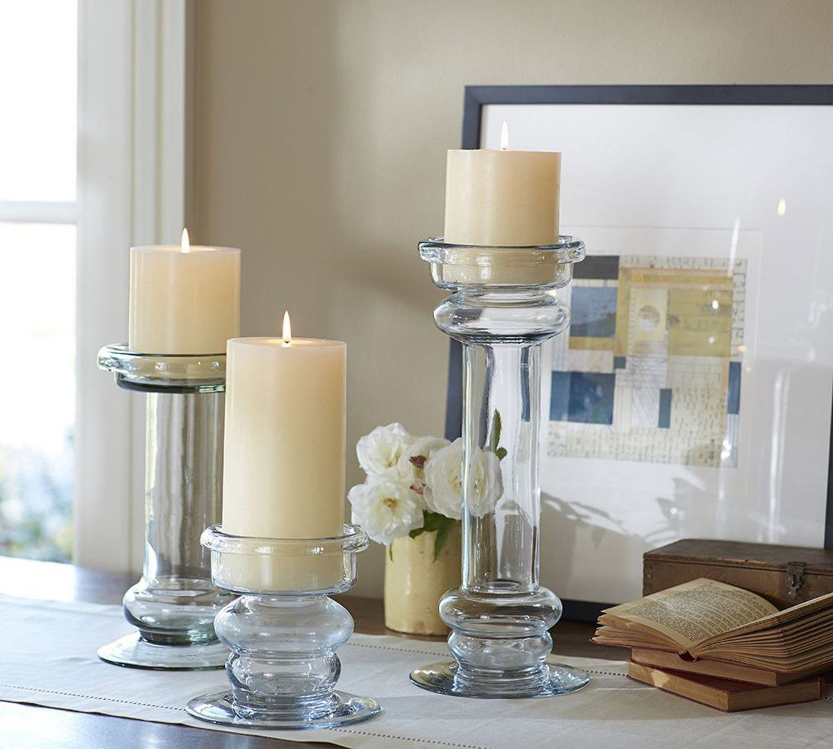 Branson glass pillar candle holders at pottery barn personal