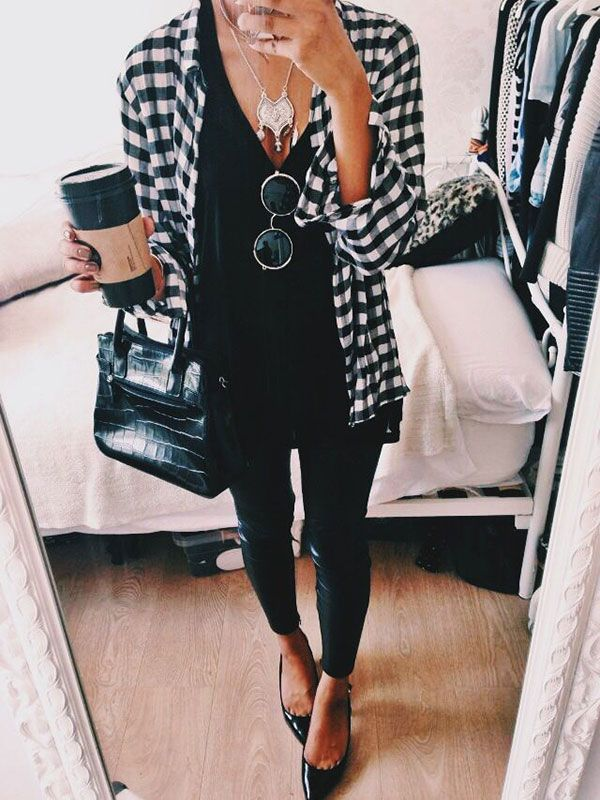 0f1f156874 unbutton your plaid shirt and wear it open over an all black outfit to look  chic and effortless