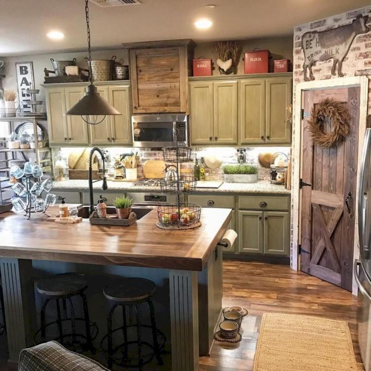 65 Astonishing Rustic Farmhouse Kitchen Cabinets Design Ideas Kitchendesign Kitchenideas Kitchenremodel Farmhousekitchen