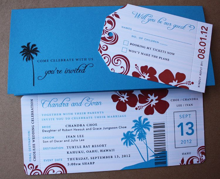 Red  Turquoise Palm Tree  Hibiscus Airline Ticket Invites by