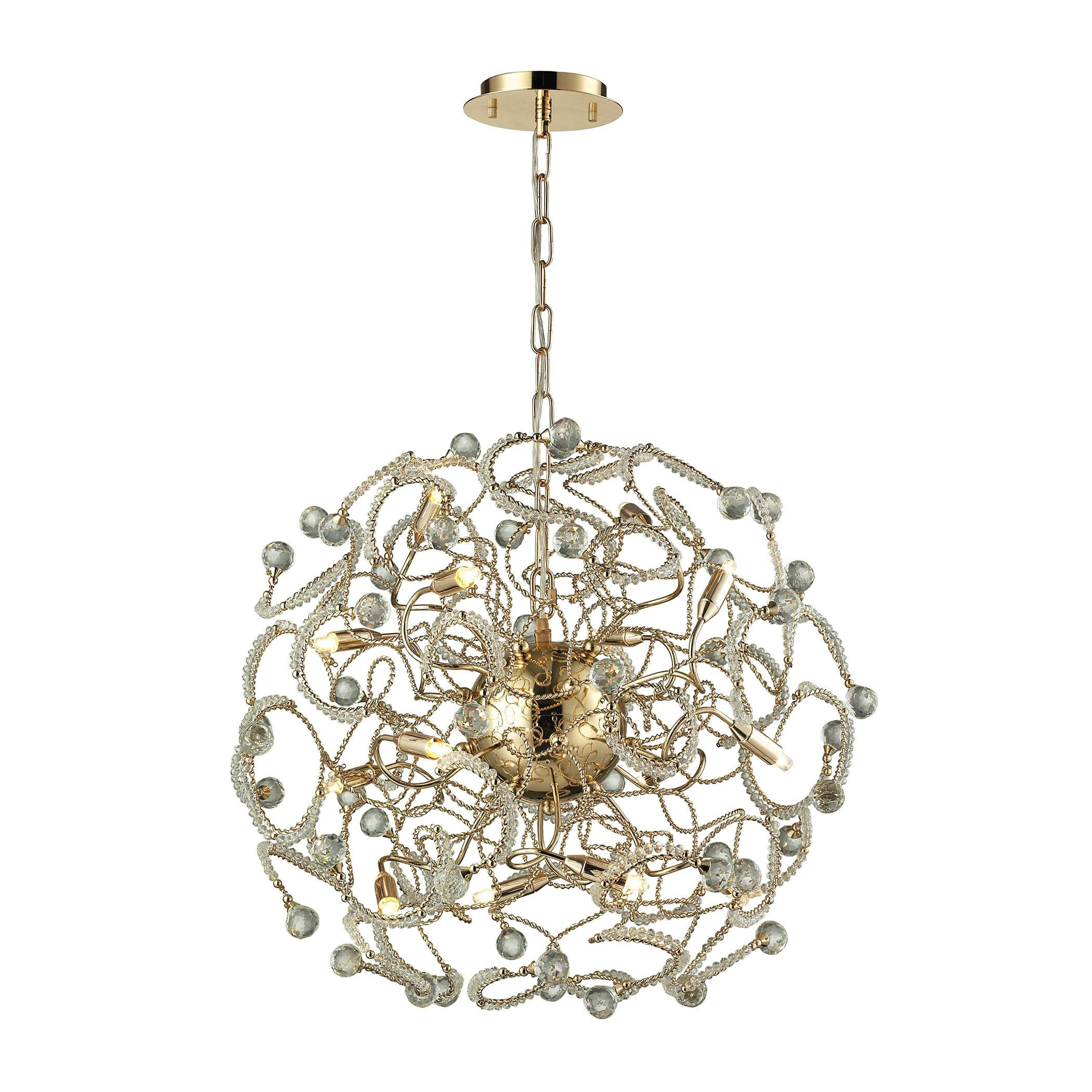 Zebula 12 Light Chandelier In Polished Gold Products