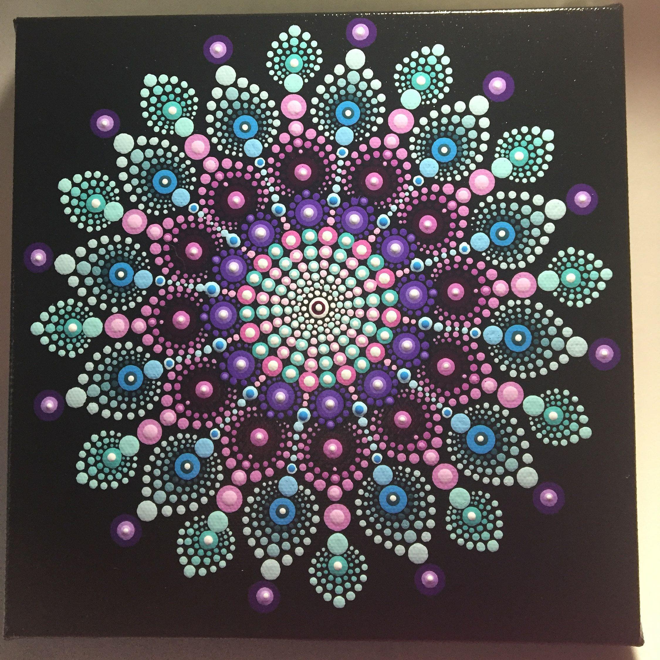 Hand Painted Mandala Canvas Meditation Dot Art Healing Calming #505