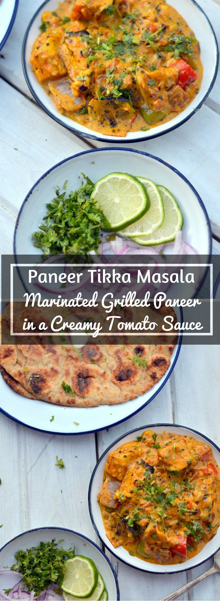 Paneer Tikka Masala - Grilled Marinated Paneer in a Creamy Tomato Sauce - Gluten Free Vegetarian - http://www.cookingcurries.com