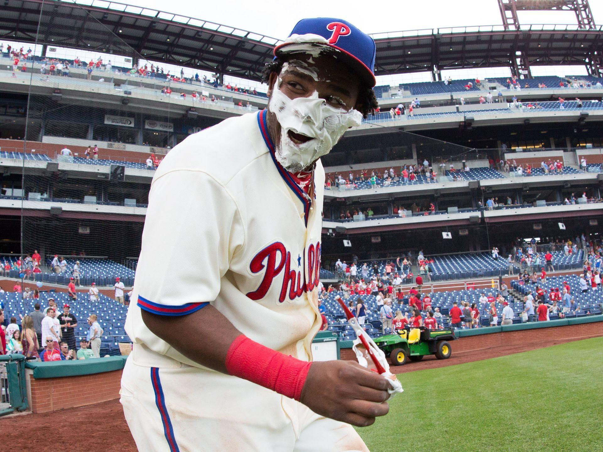 Philadelphia Phillies third baseman Maikel Franco gets a pie in the face celebrating their 6-0 win over the Arizona Diamondbacks in Philadelphia.   Bill Streicher, USA TODAY Sports