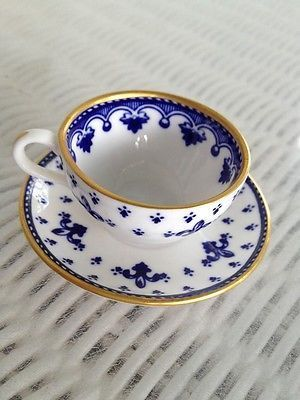 Spode Copeland China Miniature Cobalt Blue Fleur de Lis Cup and Saucer