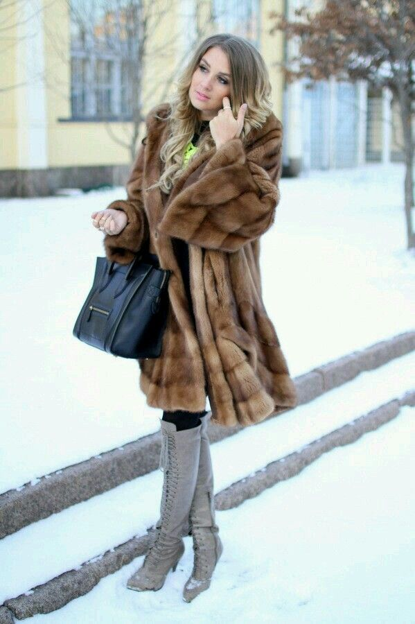 Mature in Fur Coat and Boots