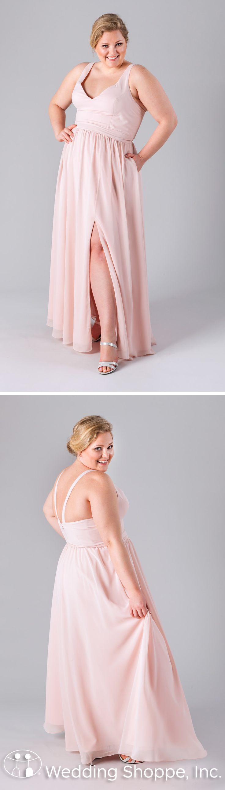 Plus size pink wedding dresses  A simple plus size bridesmaid dress with a Vneckline and Vback