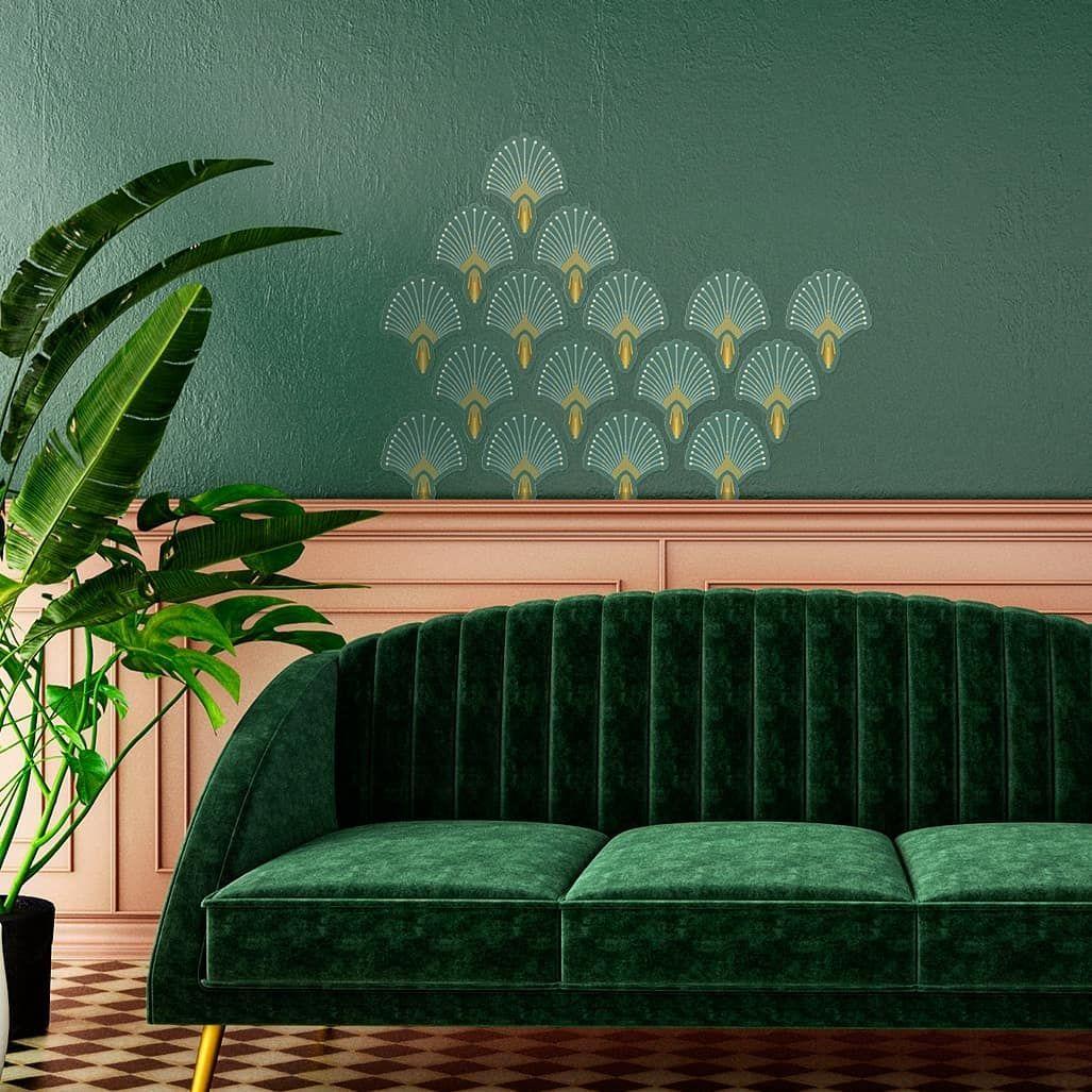 Papermint Decoration Murale On Instagram Stickers Repositionnables 1925 Vert Et Peinture Murale Premium Ver En 2020 Deco Maison Parement Mural Architecte Interieur