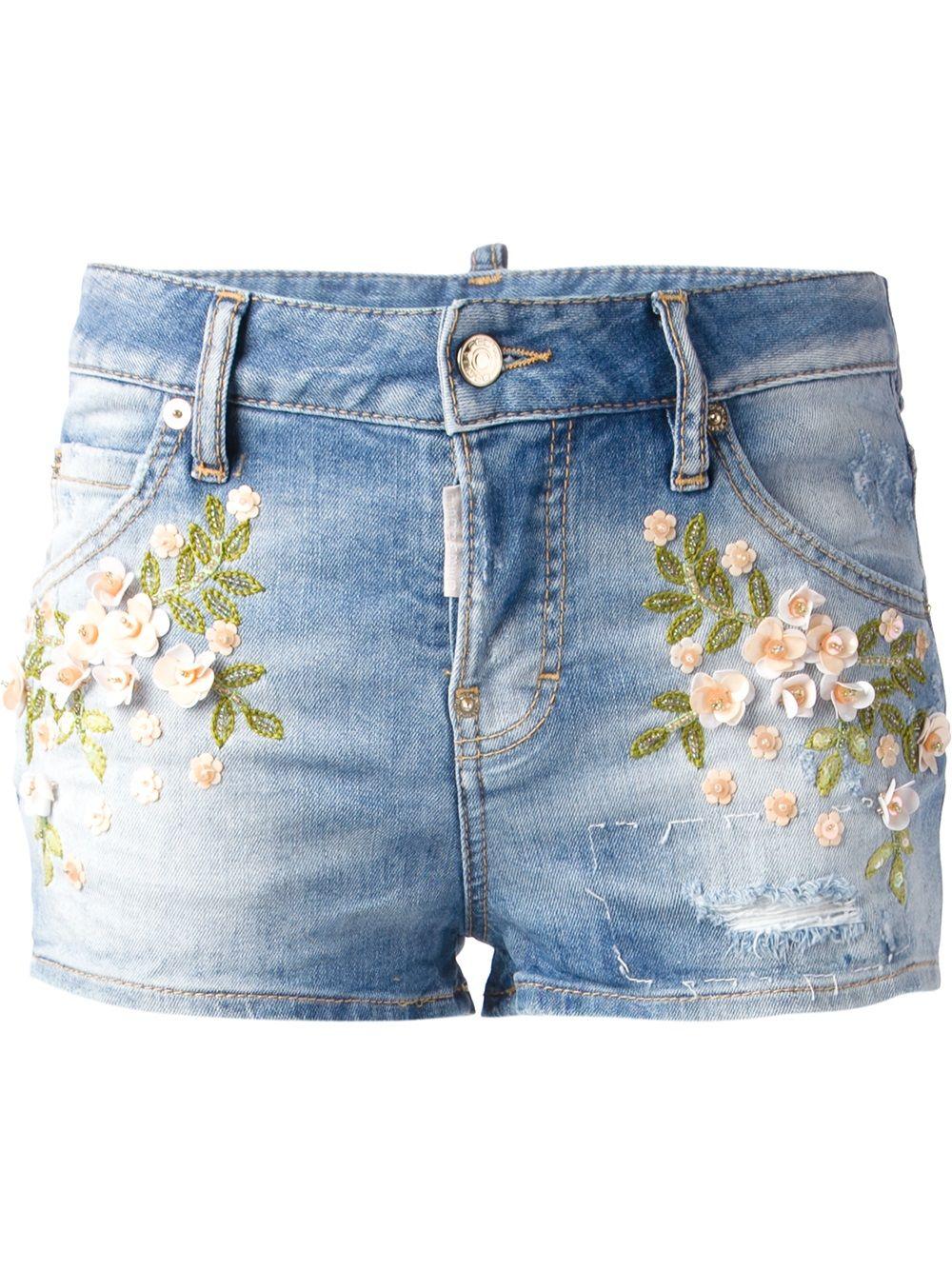 Frayed hole Monogram embroidered denim shorts pants shorts women and three  tide