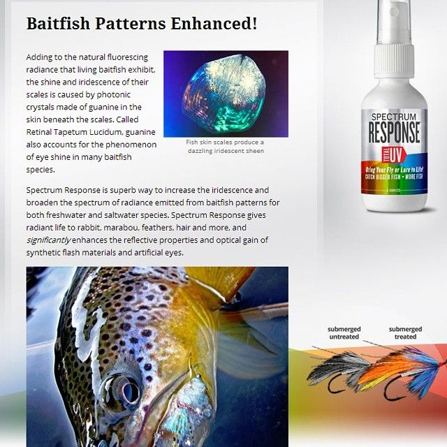 Opening a new frontier to freshwater and saltwater anglers, Spectrum Response is the most exciting lure and fly treatment created in decades! With patent pending Quantum Optics2 Technology, just one treatment to any lure creates intense visual effects that trigger heart pounding strikes.