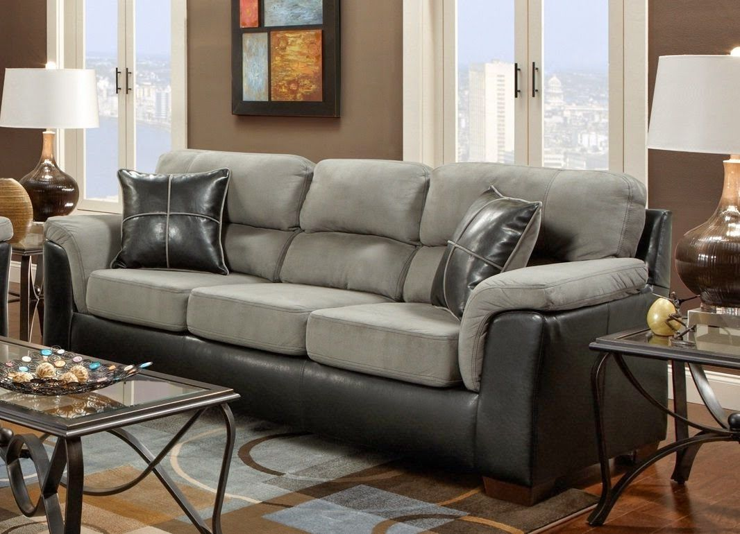 Grey Suede And Black Leather Couch.