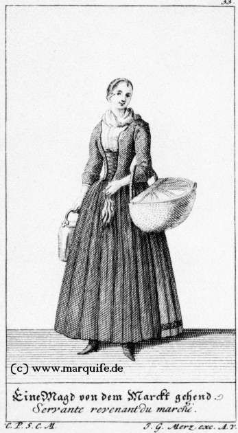 Maid Coming from the Market  Johann Georg Merz, c. 1730