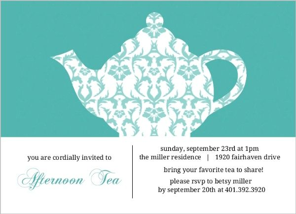Turquoise damask tea party invitation by purpletrail for Morning tea invitation template free
