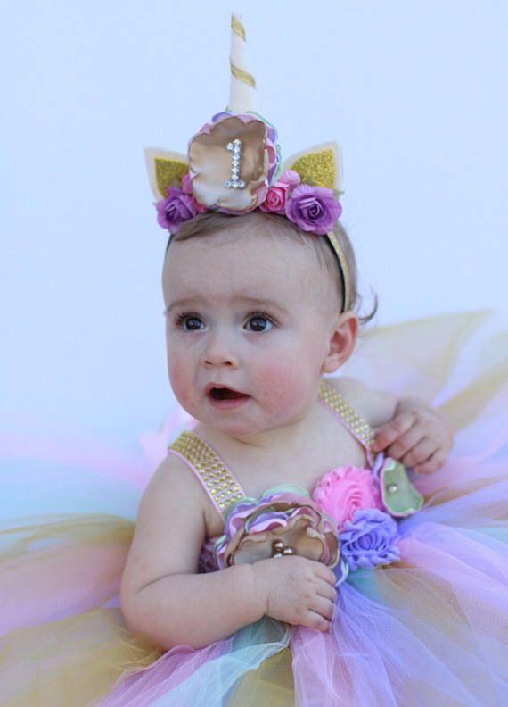 Beautiful baby girl first birthday tutu dress unicorn