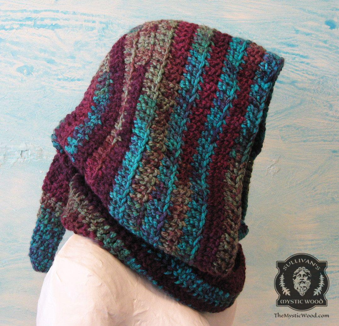 Elven Forest Hood, Crochet Hood, Multicolored, Peaked Elven Hood ...