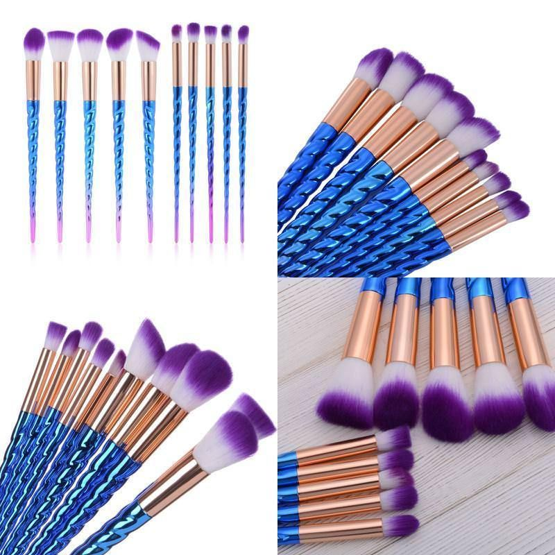 CHEAP WHOLESALE PRICE Unicorn Makeup Brushes Blue Pink 10