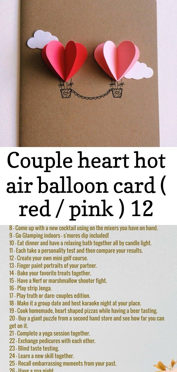 Couple heart hot air balloon card ( red / pink ) 12