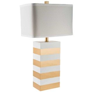 Gold U0026 White Striped Square Lamp With White Shade | Shop Hobby Lobby