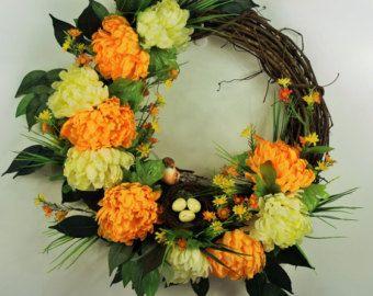 Chrysanthemum wreath, Bird wreath, Silk floral wreath, Yellow and white floral wreath, Bird nest wreath, Spring wreath, Summer wreath