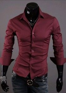 fa958bc232f5f Camisa Social Slim Fit Estilo Luxo Lisa - Vinho