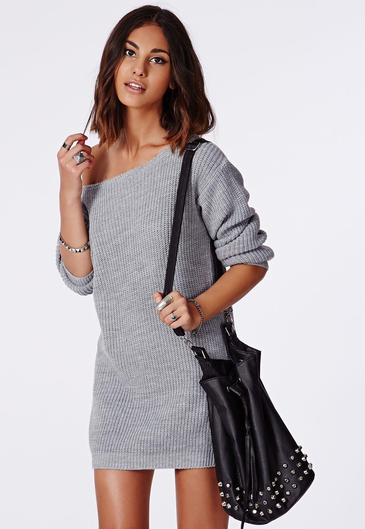 4dd515afcfd Off Shoulder Knitted Jumper Dress Grey - Knitwear - Jumper Dresses -  Missguided